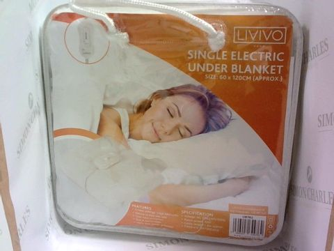 Lot 1009 LIVIVO SINGLE ELECTRICC UNDER BLANKET - 60CM X 120CM APPROX