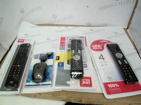 Lot 3539 A BOX OF ASSORTED ITEMS INCLUDING X3 ALL FOR ONE REMOTES AND A TRAVEL OPTICAL MOUSE