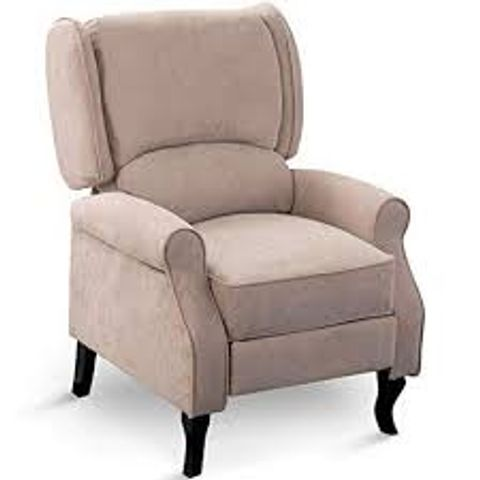 Lot 606 BOXED DESIGNER EATON BEIGE FABRIC PUSH BACK RECLINING EASY CHAIR