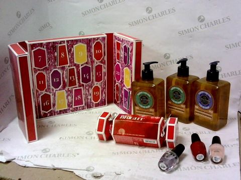 Lot 8101 LOT OF APPROXIMATELY 8 ASSORTED COSMETIC ITEMS TO INCLUDE L'OCCITANE LIQUID SOAP, OPI NAIL VARNISH, OPI ADVENT CALENDAR ETC