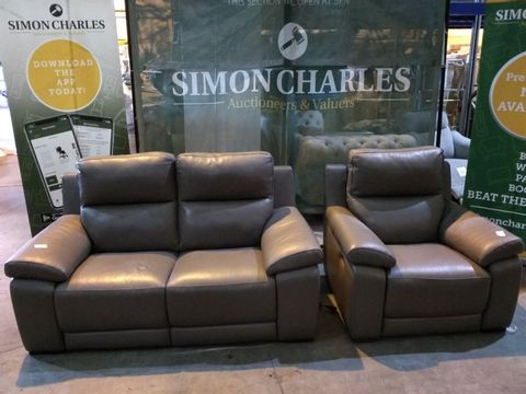 Lot 1998 QUALITY ITALIAN GREY LEATHER UPHOLSTERED TWO SEATER POWER RECLINING SOFA AND ARMCHAIR