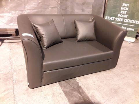 Lot 512 DESIGNER DARK BROWN FAUX LEATHER TWO SEATER SOFA
