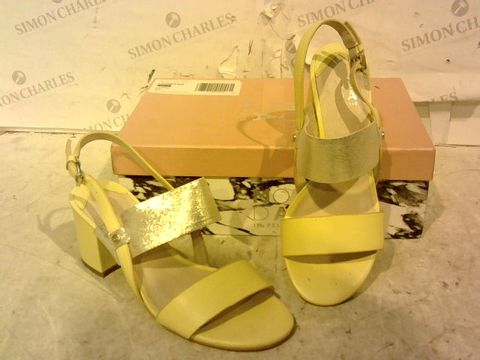 Lot 15937 BOXED PAIR OF MODA IN PELLE YELLOW FAUX LEATHER HIGH HEEL SANDALS SIZE 7