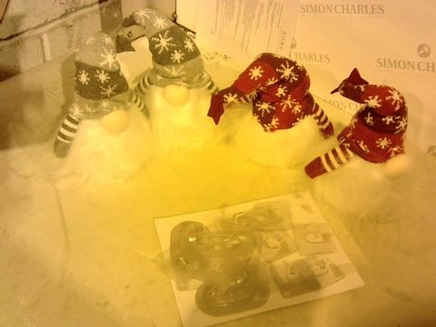 Lot 2264 FOUR FESTIVE LIGHT-UP FIGURINES AND PLASTIC HOOKS