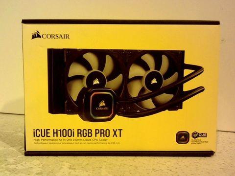 Lot 11630 CORSAIR ICUE H100I PRO XT RGB AOI LIQUID CPU COOLER