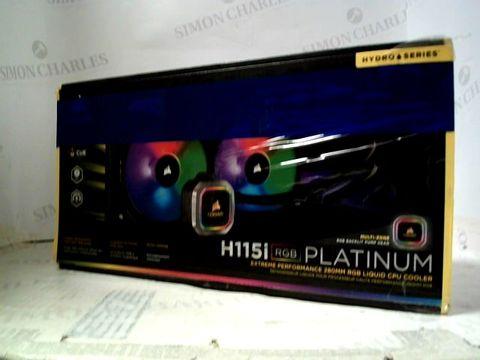Lot 1121 CORSAIR HYDRO 115I RGB PLATINUM, HYDRO SERIES LIQUID CPU COOLER - BLACK