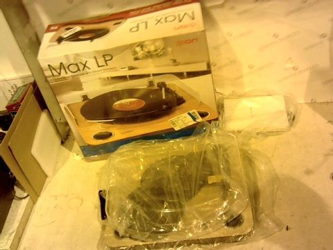 Lot 11191 ION - MAX LP WOOD CONVERSION TURNTABLE WITH STEREO SPEAKERS