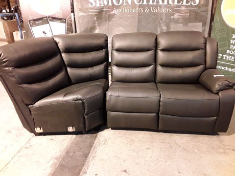 Lot 532 TWO ROTHEBURY BLACK FAUX LEATHER SECTIONS - 1 MANUAL RECLINING