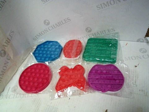 Lot 134 LOT OF 6 ASSORTED SHAPE AND COLOUR STRESS POPPER FIDGET TOYS