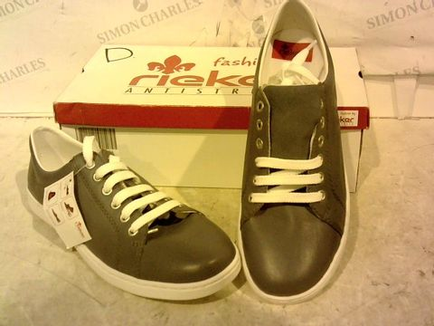 Lot 15916 BOXED PAIR OF RIEKER GREY TRAINERS SIZE UNSPECIFIED
