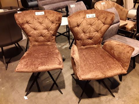 Lot 35 PAIR OF DESIGNER BROWN FABRIC BUTTONED BACK SWIVEL DINING CHAIRS