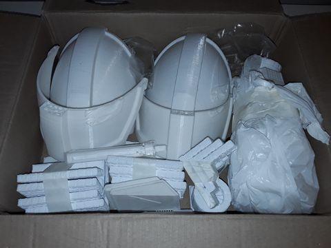 Lot 1225 LOT OF 3D-PRINTED ITEMS INCLUDES MINIATURE CASTLE ACCESSORIES AND FIGURES PLUS MEDEVIL HELMET PIECES