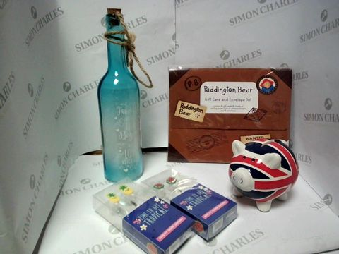 Lot 17756 LOT OF APPROXIMATELY 5 ASSORTED HOUSEHOLD ITEMS, TO INCLUDE DESIGNER WINE GLASS ORNAMENT, PADDINGTON BEAR WRITING SET, NOVELTY EARPHONES, ETC