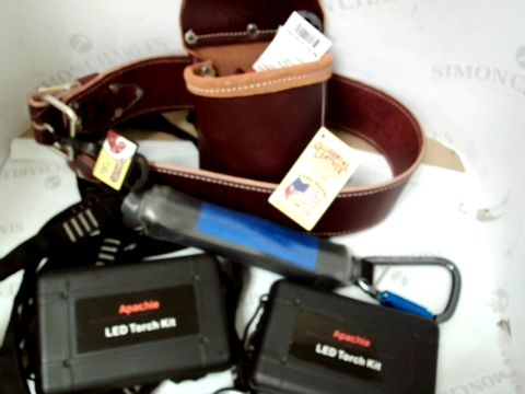 Lot 530  ASSORTED WORK ITENS INCLUDING OCCIDENTAL OX BLOOD LEATHER BELT AND POCKETS, HOIST, LED TORCH KIT