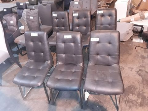 Lot 20 SET OF SIX DESIGNER CHARCOAL FAUX LEATHER UPHOLSTERED DINING CHAIRS