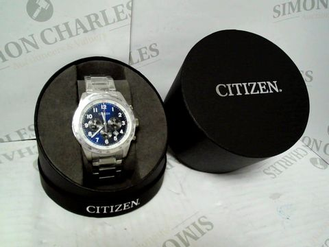 Lot 9051 CITIZEN BLUE DIAL CHRONOGRAPH SATINLESS STEEL STRAP WATCH RRP £259.00