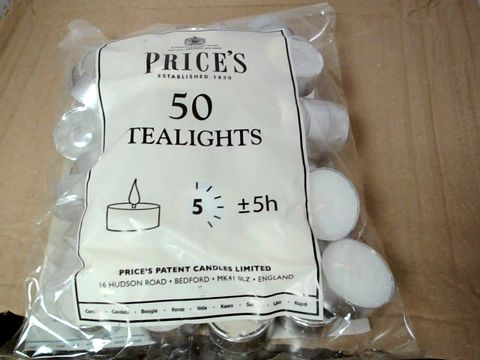 Lot 587 PRICE'S TEALIGHTS - 50 PER BAG : 15 BAGS
