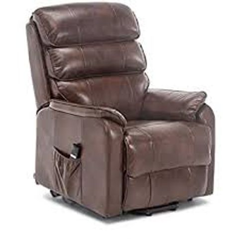 Lot 593 BOXED DESIGNER BUCKINGHAM BROWN LEATHER POWER RISE & RECLINING EASY CHAIR (2 BOXES)
