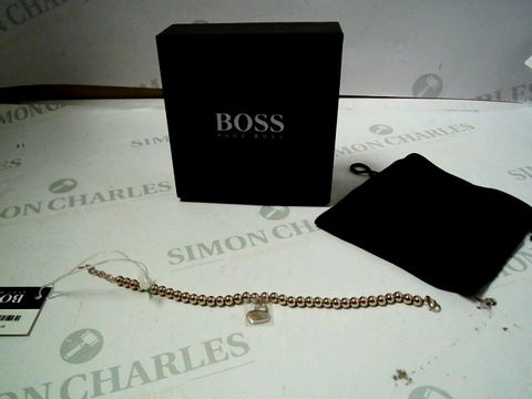 Lot 4017 BOSS GOLD PLATED STAINLESS STEEL BEADS AND HEARTLOCK BRACELET RRP £85.00