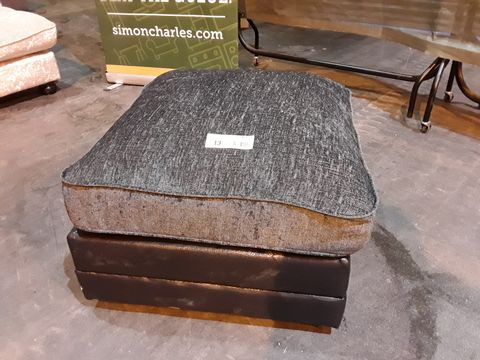 Lot 13 DESIGNER BLACK FAUX LEATHER & GREY FABRIC SQUARE FOOTSTOOL