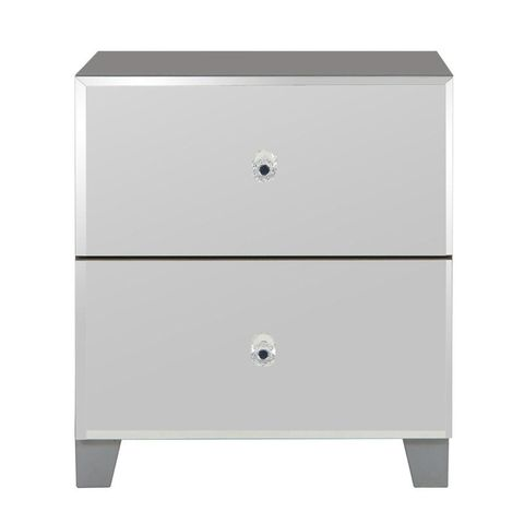 Lot 147 BELLAGIO MIRRORED 2 DRAWER BEDSIDE CHEST GREY/MIRRORS