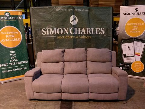 Lot 2113 DESIGNER GREY FABRIC MANUALLY RECLINING THREE SEATER SOFA WITH CUP HOLDERS