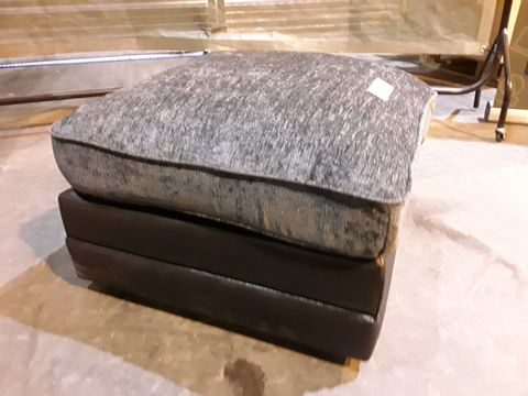 Lot 12 DESIGNER BLACK FAUX LEATHER & GREY FABRIC SQUARE FOOTSTOOL