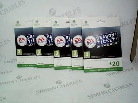 Lot 12470 LOT OF APPROXIMATELY 5 ASSORTED XBOX EA SPORTS £20 SEASON PASSES