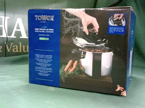 Lot 4002 TOWER T920003 PRESSURE COOKER, TWIST/TURN LID, STAINLESS STEEL, 6 LITRE, 22 CM