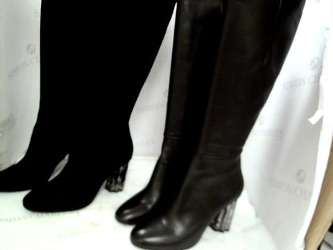 Lot 8378 SIX PAIRS OF TABATTA BLACK SUEDE & BLACK LEATHER FEATURE BLOCK HEEL LONG BOOTS, SIZES 39 & 40