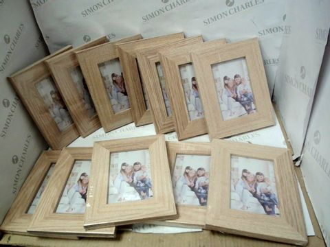 Lot 10368 BOX OF APPROXIMATELY 12 NORWICH FRAME WOOD GRAIN PHOTO FRAMES FOR PHOTOS APPROXIMATELY 10X15CM