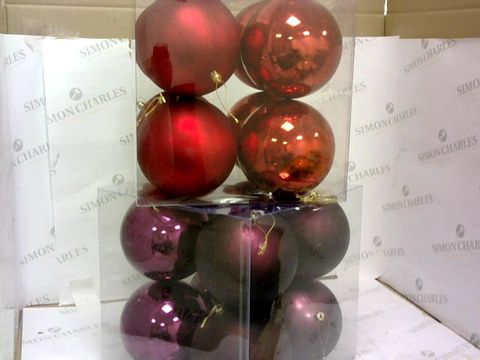 Lot 29 JUMBO 12CM BAUBLES - 2 BOXES EACH 8PK PURPLE,  RED RRP £25.90