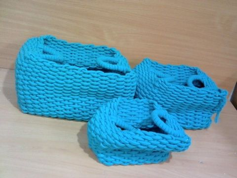 Lot 1125 3 BLUE BIG WEAVE ROPE STORAGE CONTAINERS
