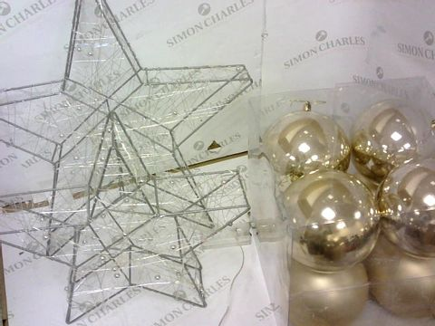 Lot 45 8 PK JUMBO BAUBLES SOFT GLOD & SET 2 LIGHT UP STAR DECORATIONS RRP £50.90