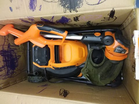 Lot 6441 YARD FORCE 32CM ROTARY CORDLESS LAWNMOWER AND GRASS TRIMMER TWIN PACK