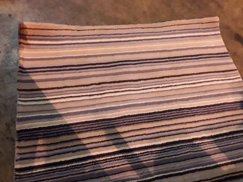 Lot 79 DESIGNER ORIGIN FINE STRIPES BLUR/BEIGE RUG 120 × 170