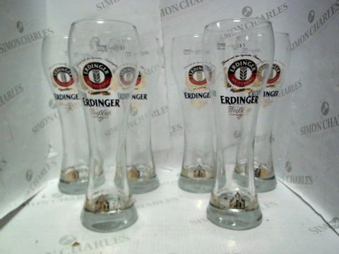 Lot 3093 LOT OF 6 ERDINGER BEER GLASSES