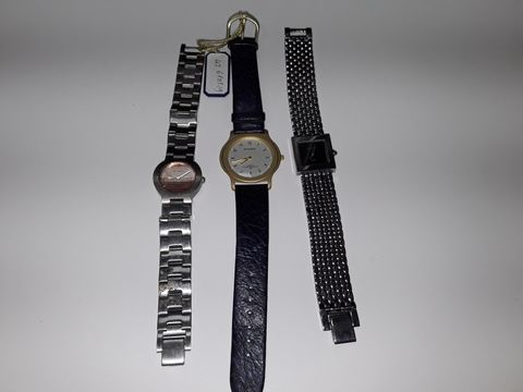 Lot 3082 LOT OF 3 ASSORTED FASHION WATCHES