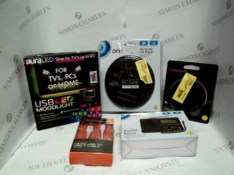 Lot 7506 BOX OF APPROXIMATELY 13 ASSORTED ELECTRICAL ITEMS TO INCLUDE: BLACKWEB WIRELESS CHARGING PAD, ONN PERSONAL CD PLAYER, USB LED MOODLIGHT STRIP, ETC