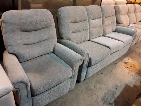 Lot 630 QUALITY BRITISH MANUFACTURED HARDWOOD FRAMED GREY FABRIC FIXED LOUNGE SUITE, COMPRISING, THREE SEATER SOFA & EASY CHAIR
