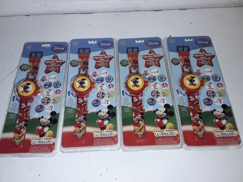Lot 4201 LOT OF 4 DISNEY MICKEY MOUSE MULTI PROJECTOR WATCHES