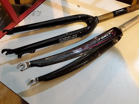 Lot 30 TWO SETS OF CYCLE FRONT FORKS,  BASE & EDACCIAI BLACK FORCE CARBON