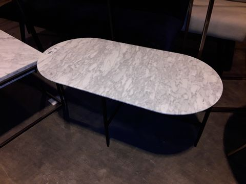 Lot 68 DESIGNER MARBLE EFFECT TABLE WITH ROUNDED ENDS