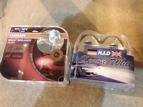 Lot 73 TWO SETS OF REPLACEMENT HEADLIGHT BULBS, OSRAM H1 NIGHT BREAKERS & HID XENON WHITE