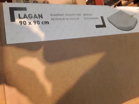 Lot 10529 BOXED LAGAN QUADRANT SHOWER TRAY 90 × 90