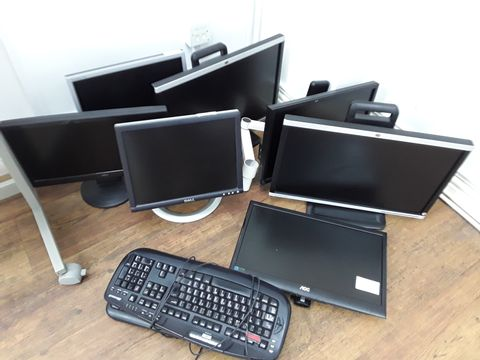 Lot 53 7 ASSORTED MONITORS AND TWO KEYBOARDS