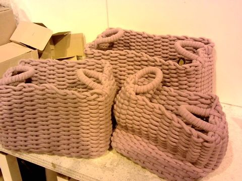Lot 1291 LOT OF 3 PURPLE BIG WEAVE ROPE STORAGE CONTAINERS
