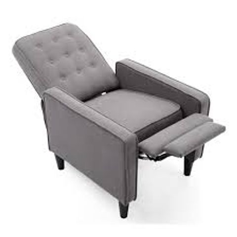 Lot 597 BOXED DESIGNER GREY FABRIC PUSHBACK RECLINING EASY CHAIR