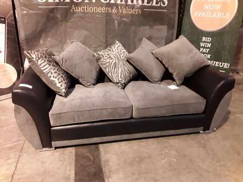 Lot 524 DESIGNER BLACK FAUX LEATHER & GREY FABRIC THREE SEATER SOFA WITH SCATTER CUSHIONS