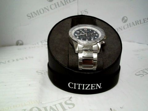 Lot 9023 CITIZEN BLUE DIAL CHRONOGRAPH SATINLESS STEEL STRAP WATCH RRP £259.00